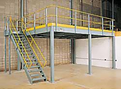 Mezzanines catwalks etc warehouse solutions inc for Mezzanine guard rail